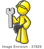 #37829 Clip Art Graphic Of A Yellow Guy Character Holding A Wrench