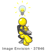 #37846 Clip Art Graphic Of A Yellow Guy Character Jotting Ideas Down