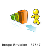 #37847 Clip Art Graphic Of A Yellow Guy Character With A Bar Graph