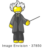 #37850 Clip Art Graphic Of A Yellow Guy Character As Einstein
