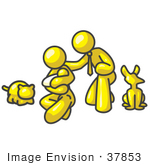 #37853 Clip Art Graphic Of A Yellow Guy Character Family With Pets