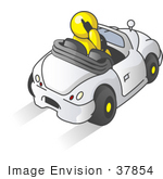 #37854 Clip Art Graphic Of A Yellow Guy Character Talking On A Phone And Driving