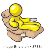 #37861 Clip Art Graphic Of A Chubby Yellow Guy Character Sitting In A Lazy Chair