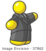 #37862 Clip Art Graphic Of A Fat Yellow Guy Character Pointing