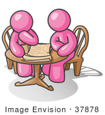 #37878 Clip Art Graphic Of Pink Guy Characters Planning At A Table