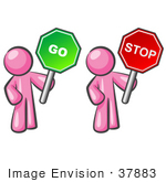 #37883 Clip Art Graphic Of Pink Guy Characters Holding Stop And Go Signs