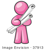 #37913 Clip Art Graphic Of A Pink Guy Character Holding Scrolls