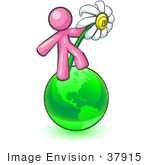#37915 Clip Art Graphic Of A Pink Guy Character With A Daisy On A Globe