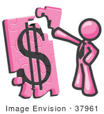 #37961 Clip Art Graphic Of A Pink Guy Character Assembling A Financial Puzzle