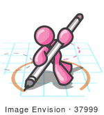 #37999 Clip Art Graphic Of A Pink Guy Character Drawing A Circle On Graph Paper