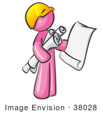 #38028 Clip Art Graphic Of A Pink Guy Character Holding Blueprints
