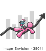 #38041 Clip Art Graphic Of A Pink Guy Character Drinking Cocktails On A Bar Graph