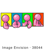 #38044 Clip Art Graphic Of A Pink Guy Character In Different Poses With Colorful Backgrounds