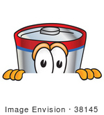 #38145 Clip Art Graphic Of A Battery Mascot Character Peeking Over A Surface