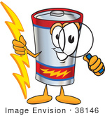 #38146 Clip Art Graphic Of A Battery Mascot Character Holding A Bolt Of Energy And Looking Through A Magnifying Glass