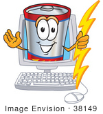 #38149 Clip Art Graphic Of A Battery Mascot Character Holding A Bolt Of Energy And Waving In A Computer Screen