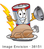 #38151 Clip Art Graphic Of A Battery Mascot Character Serving A Thanksgiving Turkey On A Platter