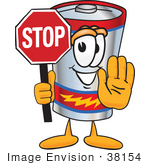 #38154 Clip Art Graphic Of A Battery Mascot Character Holding A Stop Sign