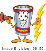 #38155 Clip Art Graphic Of A Battery Mascot Character Holding A Bolt Of Energy And Megaphone