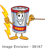 #38167 Clip Art Graphic Of A Battery Mascot Character Holding A Bolt Of Energy And A Pointer Stick
