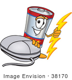 #38170 Clip Art Graphic Of A Battery Mascot Character With A Computer Mouse