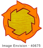 #40675 Clip Art Graphic Of Orange Arrows Circling Orange Rippling Water