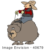 #40679 Clip Art Graphic Of A Cowboy Riding Around On A Big Bear