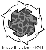 #40708 Clip Art Graphic Of White Arrows Circling A Patterned Gray Center