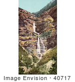 #40717 Stock Photo Of The Provo River Falls And Cliffs Utah