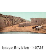 #40728 Stock Photo Of Brown And White Horses Near A Pool Of Water At Acoma Pueblo New Mexico