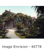 #40778 Stock Photo Of A Small Cottage Surrounded By Beautiful Rose Gardens In Pasadena California