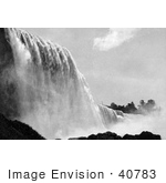 #40783 Stock Photo Of A Lower View Of American Falls In Black And White Niagara Falls New York