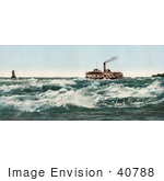 #40788 Stock Photo Of A Steamship Transporting Passengers Across The Lachine Rapids On The Saint Lawrence River Near Montreal Canada