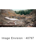 #40797 Stock Photo Of Hydraulic Placer Mining Pipes Spraying Water Against Stone Colorado