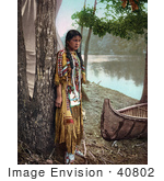 #40802 Stock Photo Of A Young Native American Indian Girl Leaning Against A Tree Near A Boat On A River Bank A Personification Of Minnehaha 1904