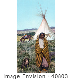 #40803 Stock Photo Of A Crow Native American Indian Man Draped In A Blanket Standing With His Dogs Near A Tipi And Horses On The Great Plains Taken In 1902