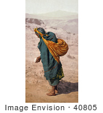 #40805 Stock Photo Of A Lone Hopi Woman Walking Barefoot In Sand Patient Toil Moki Pueblos Arizona
