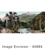 #40884 Stock Photo Of Train Tracks Along The River Near The Needle Mountains Colorado
