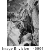 #40904 Stock Photo Of A Man Walking Through The Box Canyon In Ouray Colorado