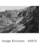 #40972 Stock Photo Of Men Standing By Train Tracks At The Eagle River Canyon Mines In Colorado