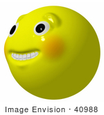 #40988 3d Clip Art Graphic Of A Yellow Smiley Face With Teeth And Big Eyes Grinning Nervously Upwards