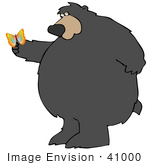 #41000 Clip Art Graphic Of A Colorful Butterfly Resting On The Paw Of A Big Amazed Bear