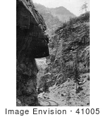 #41005 Stock Photo Of Train Tracks Curving Around Hanging Rock In Clear Creek Canyon In The Rocky Mountains Colorado