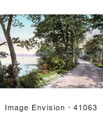 #41063 Stock Photo Of A Road Along Budd'S Lake In New Jersey