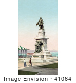 #41064 Stock Photo Of People Strolling By The Gazebo And Samuel De Champlain Statue In Quebec Canada