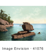 #41076 Stock Photo Of Boats Near The Sphinx Rock Formation At The Apostle Islands On Lake Superior Wisconsin