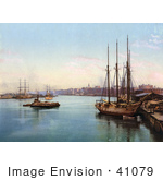 #41079 Stock Photo Of Ships At The Pier On The Savannah River In Savannah Georgia