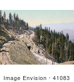 #41083 Stock Photo Of A Railroad Curving Along A Mountain Side Over A Tunnel In The Siskiyou Mountains California