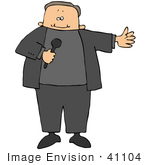 #41104 Clip Art Graphic Of A Caucasian Host Announcing A Guest On A Tv Show Holding A Mic