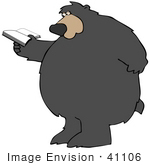 #41106 Clip Art Graphic Of A Reading Bear Standing Up On His Hind Legs